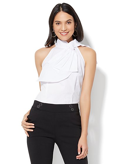 7th Avenue - Madison Stretch Shirt - Bow-Accent Halter - White - New York & Company