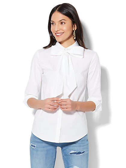 7th Avenue - Madison Stretch Shirt - Bow Accent - White - New York & Company