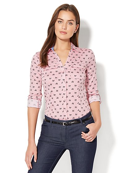 7th Avenue - Madison Stretch Shirt - Bow-Print - New York & Company