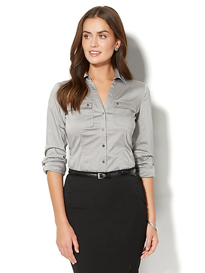 7th Avenue - Madison Stretch Shirt - Button-Front - Petite - New York & Company