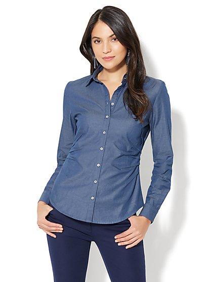 7th Avenue - Madison Stretch Shirt - Chambray - Medium Blue - New York & Company
