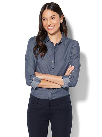 7th Avenue - Madison Stretch Shirt - Chambray - Petite - New York & Company