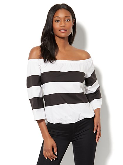 7th Avenue - Madison Stretch Shirt - Colorblock Off-The-Shoulder - New York & Company