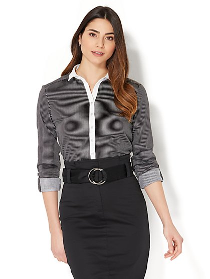 7th Avenue - Madison Stretch Shirt - Contrast Trim - Petite - New York & Company