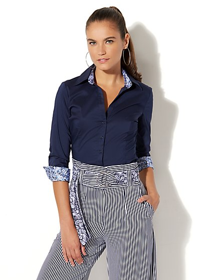 7th Avenue - Madison Stretch Shirt - Ditsy Trim - New York & Company