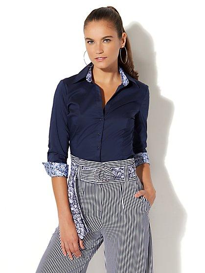7th Avenue - Madison Stretch Shirt - Ditsy Trim - New York & Company