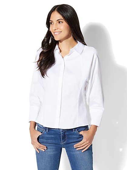 7th Avenue - Madison Stretch Shirt - Dolman - White - New York & Company