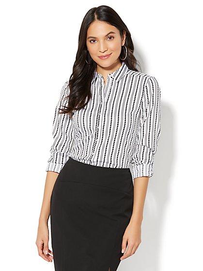 7th Avenue - Madison Stretch Shirt - Dot Print - Tall - New York & Company