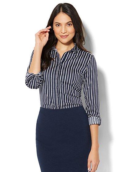 7th Avenue - Madison Stretch Shirt - Dot Print - New York & Company