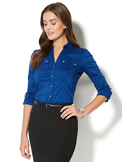 7th Avenue - Madison Stretch Shirt - Double Flap-Pocket - Royal Blue - Petite - New York & Company