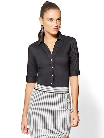 7th Avenue - Madison Stretch Shirt - Elbow Sleeve - New York & Company