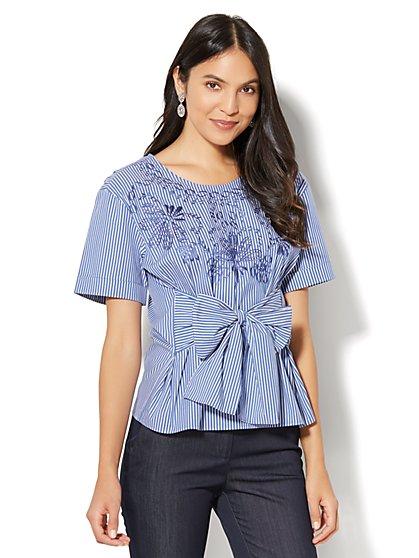 7th Avenue - Madison Stretch Shirt - Embroidered - Metallic Stripe - New York & Company