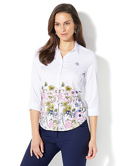 7th Avenue - Madison Stretch Shirt - Floral - Petite - New York & Company