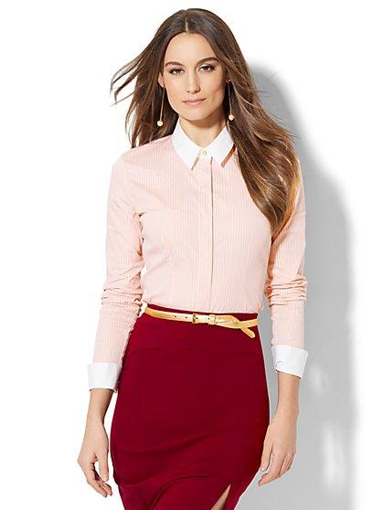 7th Avenue - Madison Stretch Shirt - French Cuff - Lurex Stripe - Petite - New York & Company