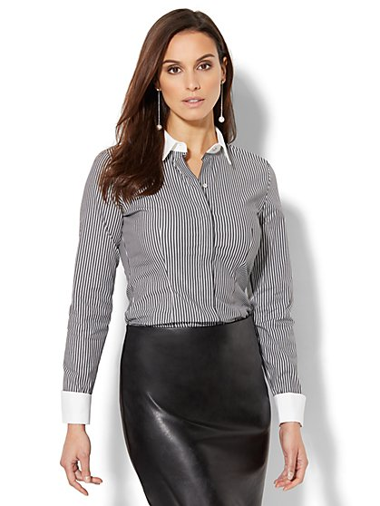7th Avenue - Madison Stretch Shirt - French Cuff - Lurex Stripe - New York & Company
