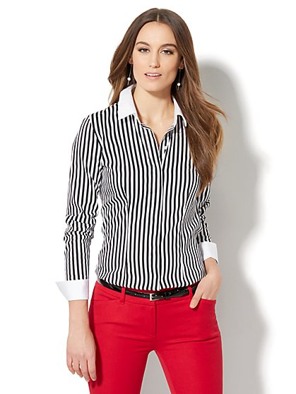7th Avenue - Madison Stretch Shirt - French-Cuff - Stripe - New York & Company