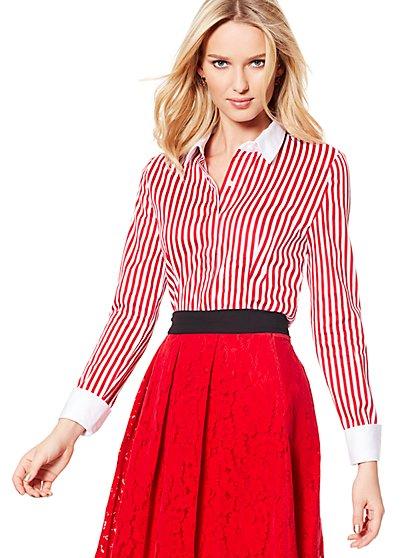 7th Avenue - Madison Stretch Shirt - French-Cuff - Stripe - New York & Company
