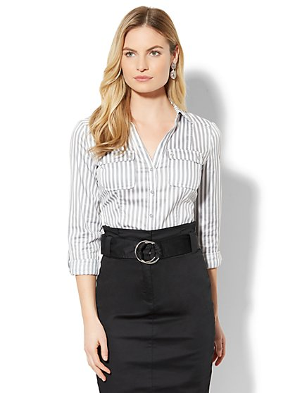 7th Avenue - Madison Stretch Shirt - Grey Stripe - Petite - New York & Company