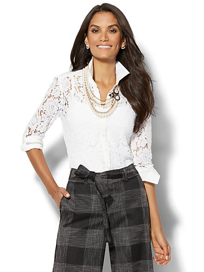 7th Avenue - Madison Stretch Shirt - Lace-Overlay - New York & Company