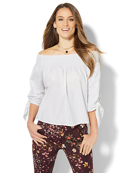 7th Avenue - Madison Stretch Shirt - Off-The-Shoulder  - New York & Company