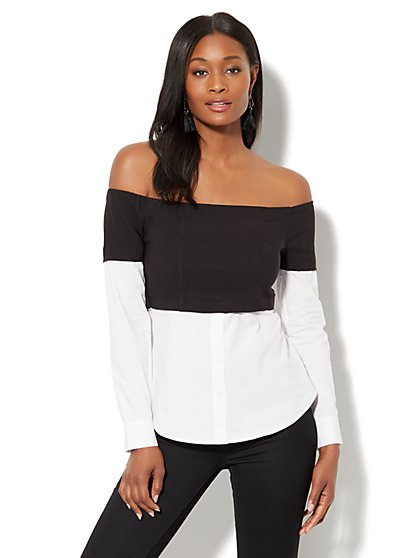 7th Avenue - Madison Stretch Shirt - Overlay-Detail Off-The-Shoulder - New York & Company