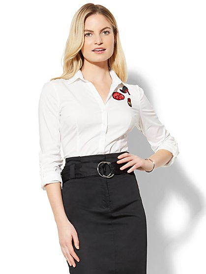 7th Avenue - Madison Stretch Shirt - Patch-Accent - White - New York & Company
