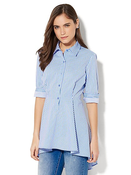 7th Avenue - Madison Stretch Shirt Peplum Hem - Stripe - New York & Company