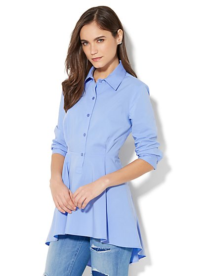 7th Avenue - Madison Stretch Shirt Peplum Hem - New York & Company