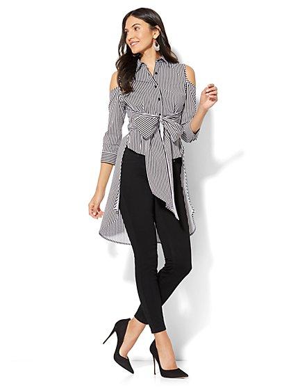 7th Avenue - Madison Stretch Shirt - Peplum Hi-Lo Cold Shoulder - Stripe - New York & Company
