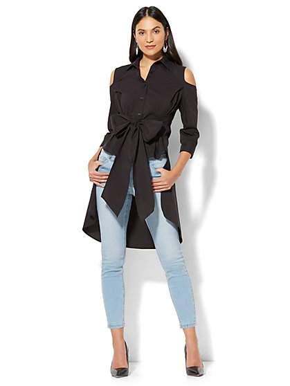 7th Avenue - Madison Stretch Shirt - Peplum Hi-Lo Cold Shoulder - New York & Company