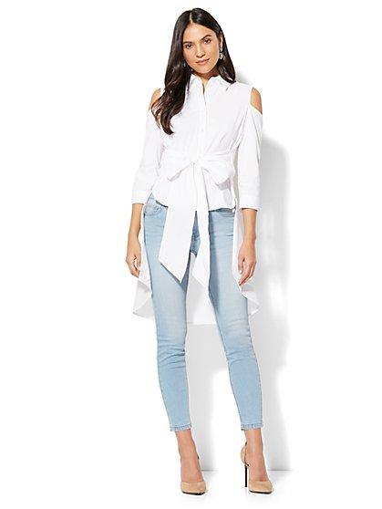 7th Avenue - Madison Stretch Shirt - Peplum Hi-Lo Cold Shoulder - New York & Company
