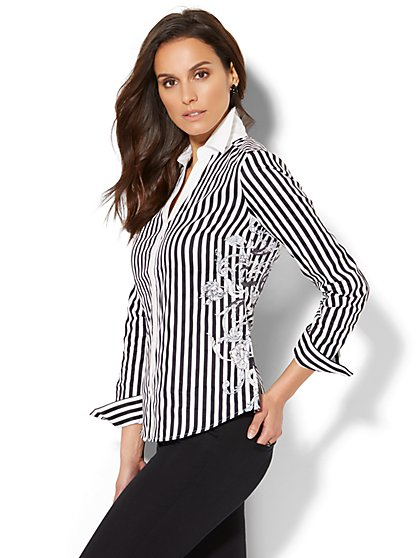 7th Avenue - Madison Stretch Shirt - Placement-Print Striped Shirt - New York & Company