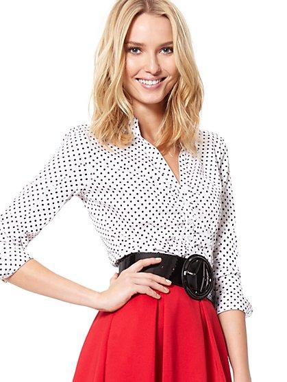 7th Avenue - Madison Stretch Shirt - Polka-Dot Print - New York & Company