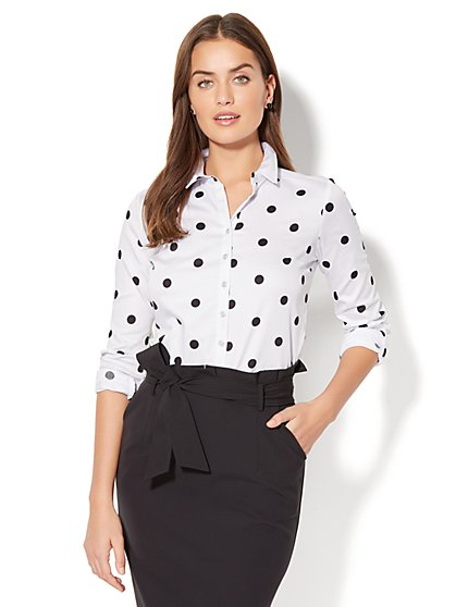 7th Avenue - Madison Stretch Shirt - Polka-Dot Print - New York & Company