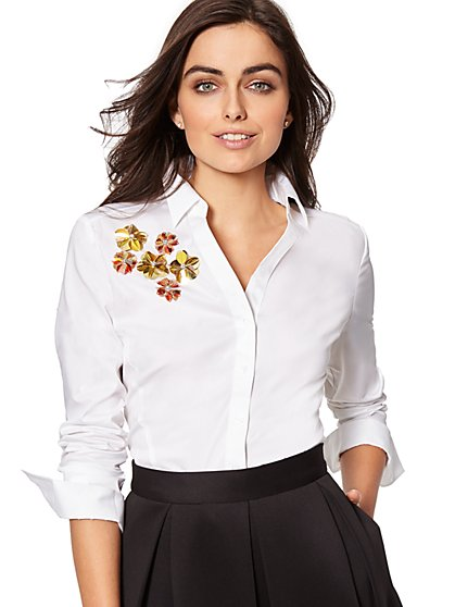 7th Avenue - Madison Stretch Shirt - Sequin-Accent - New York & Company