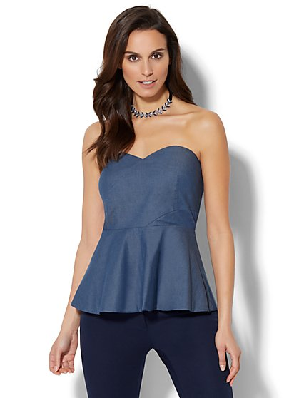 7th Avenue - Madison Stretch Shirt - Strapless Chambray Peplum Blouse - New York & Company