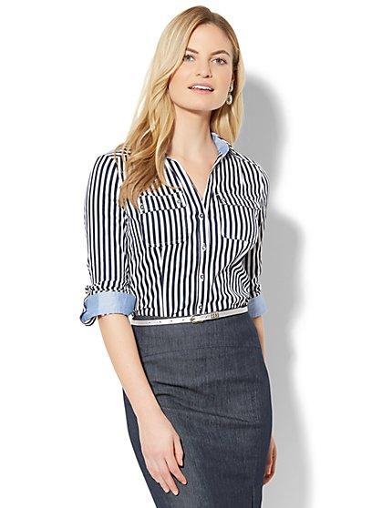 7th Avenue - Madison Stretch Shirt - Stripe - Tall - New York & Company