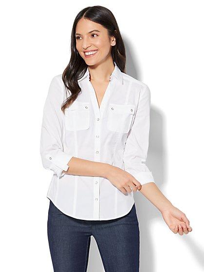 7th Avenue - Madison Stretch Shirt - Striped Grosgrain-Trim - Tall - New York & Company