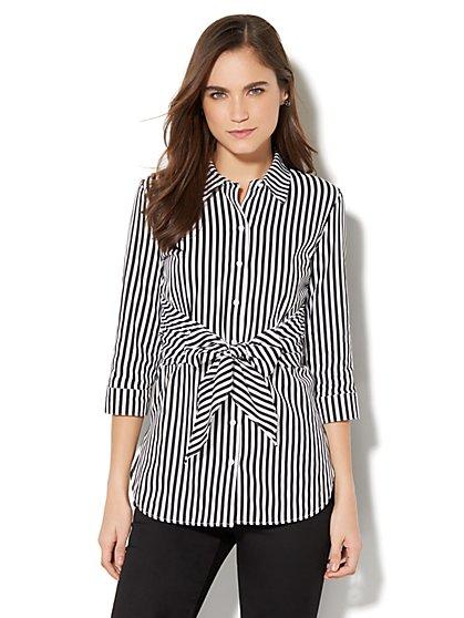 7th Avenue - Madison Stretch Shirt - Tie-Waist - Black - New York & Company