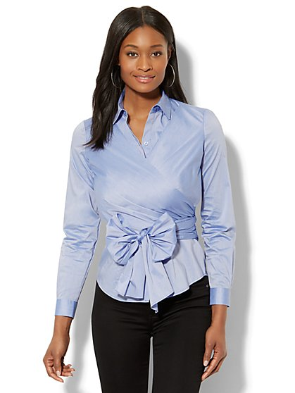 7th Avenue - Madison Stretch Shirt - Wrap-Front - Blue - New York & Company