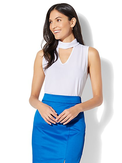 7th Avenue - Mock-Neck Choker Blouse - New York & Company