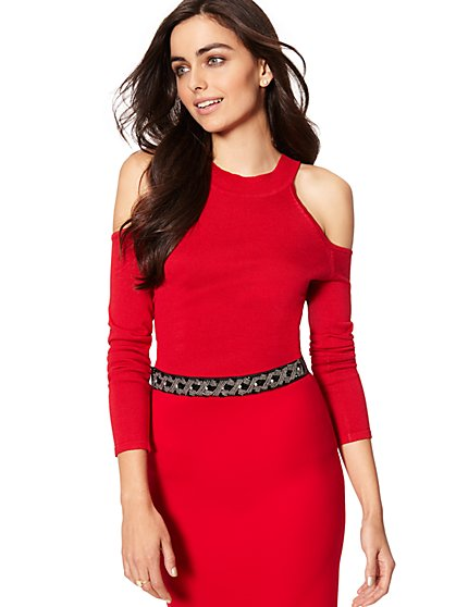 7th Avenue - Mock-Neck Cold-Shoulder Sweater - New York & Company