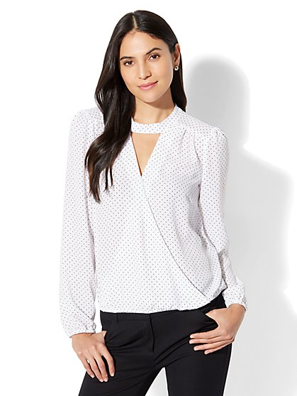 7th Avenue - Mock-Neck Wrap Blouse - New York & Company