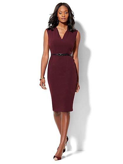 7th Avenue - Modern Fit - Belted Sheath Dress - Burgundy  - New York & Company