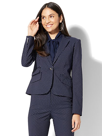 7th Avenue - One-Button Jacket - Navy Pindot - New York & Company