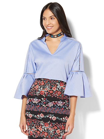 7th Avenue - Open-Stitch Bell-Sleeve Blouse - New York & Company