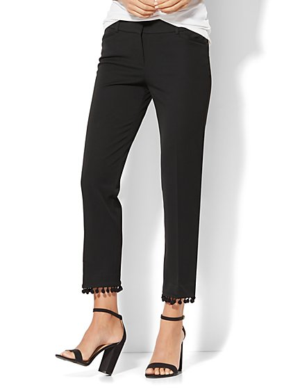 7th Avenue Pant - Ankle - Modern - Pom Pom-Trim - Black - New York & Company