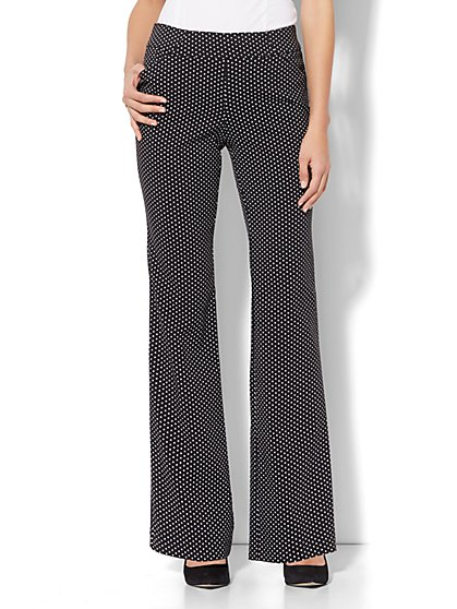 7th Avenue Pant - Bootcut - Modern - Pull-On - Polka-Dot Print - New York & Company