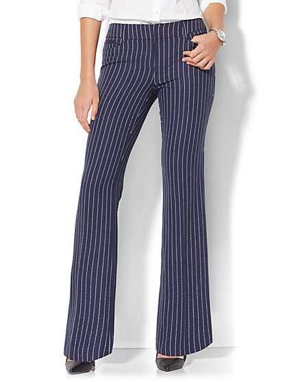 7th Avenue Pant - Bootcut - Signature - Navy Pinstripe - New York & Company
