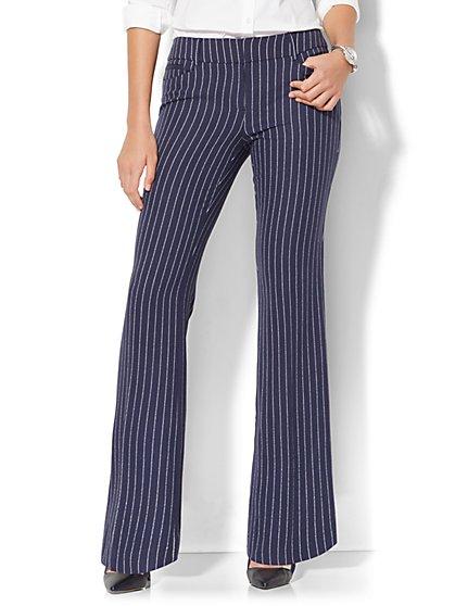 7th Avenue Pant - Bootcut - Signature - Navy Pinstripe - New York & Company